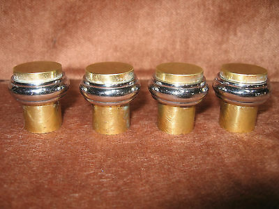 4 Vintage Brass & Chrome Cabinet Handle Pull Knobs