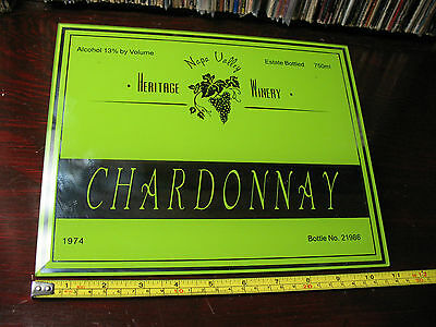 HERITAGE  WINERY  CHARDONNARY GLASS MIRROR SIGN 1974  8''x11'' VERY NICE !!