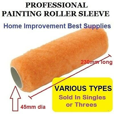 PAINT ROLLER SLEEVE  230mm 9 inch   SHORT MEDIUM LONG SYNTHETIC PILE & SHEEPSKIN