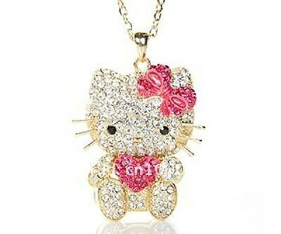 New gold or silver plated crystal hello kitty necklace with 40cm chain included.