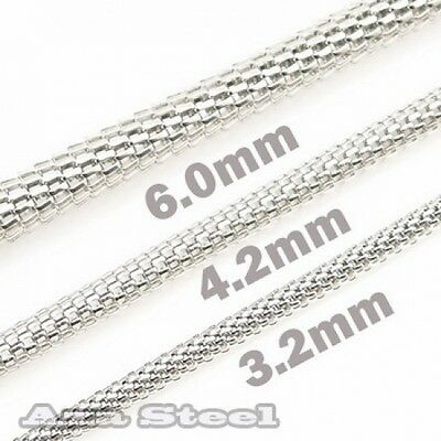 """MEN'S 20""""~30"""", 3.2MM 4.2MM 6MM Stainless Steel Hollow Round Snake Chain Necklace"""