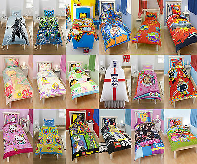 Childrens Kids single duvet quilt cover bedding sets with pillowcases