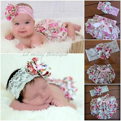 Baby Girl Bloomers Ruffle Pant Nappy Cover Satin Floral Vintage Design Headband
