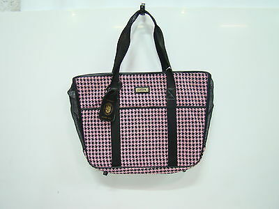 Sherpa sac voyage chien houndstooth neuf taille standard  noir/rose