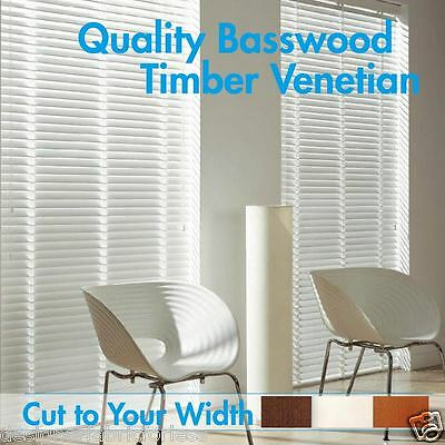New 50mm Basswood Timber Venetian Blinds 60cm - 240cm