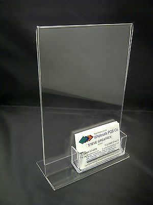 Acrylic A5 Portrait Clear Perspex Poster / Menu Display & Business Card Holder