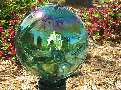 Gazing Ball Handblown Glass Globe Teal Iridescent,Purple,Blue,Green and Others