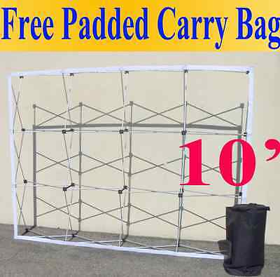 10' Pop-Up Tension Fabric Trade Show Display Booth Frame Stand Pop up Free Case
