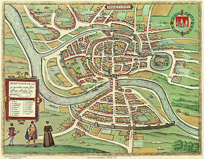Old Map Bristol in 1568, city plan by Georg Braun - repro, vintage, historical
