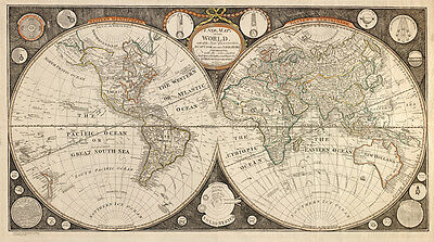 Old Map of the World in 1799 by Thomas Kitchen - repro, vintage, historical