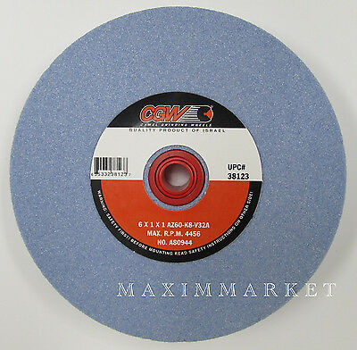 "6"" x 1"" x 1"" Grinding Wheel Premium Blue Aluminum Oxide for High Speed Steel"