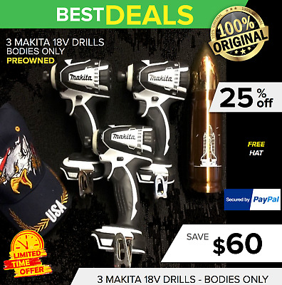 3 Markita 18V Drills (Bodies Only), Brand New, Free Extras, Fast Ship