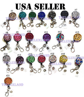 Rhinestone Bling Crystal reel retractable ID badge holder