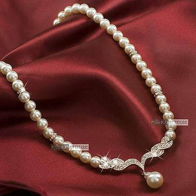 18k rose gold GF made with swarovski crystal Engagement wedding pearl necklace