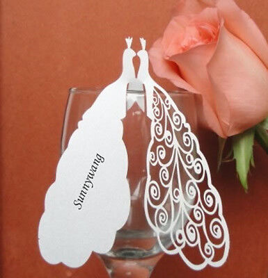 50pcs Personalized Party/Wedding White Peacock Name Place Cards,Table Cards