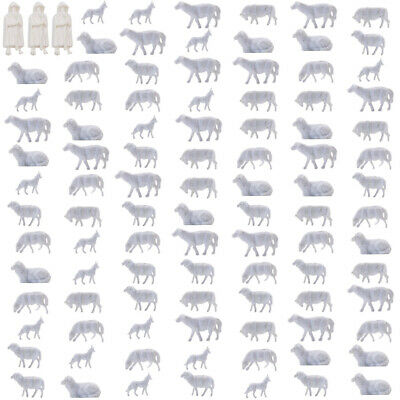 AN8703B 100pcs 1:87 UnPainted White Farm Animals Sheep Collie Dog Shepherd HO