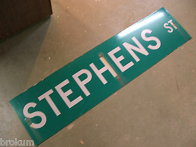 "Large Original Stephens St Street Sign 48"" X 12"" White Lettering On Green"
