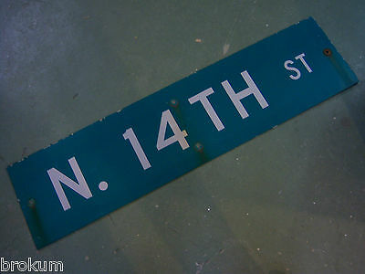 "Large Original N. 14Th St Street Sign 48"" X 12"" White Lettering On Green"