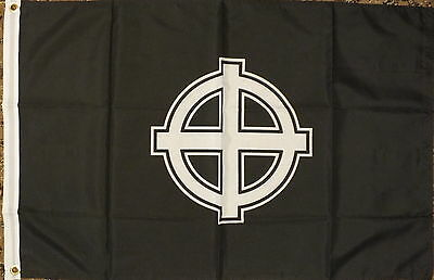 Celtic Cross Flag White/Black 3x2 Irish Scottish Welsh Nationalist Patriot bnip