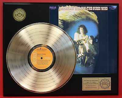 The Guess Who - American Woman 24k Gold LP Record Display - Free USA Shipping