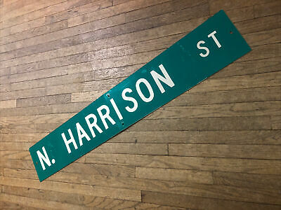 "Large Original S. Harrison St Street Sign 54"" X 9"" White Lettering On Green"