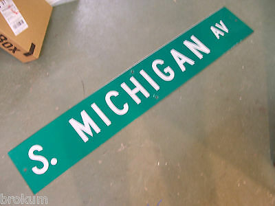"Large Original S. Michigan Av Street Sign 54"" X 9"" White Lettering On Green"