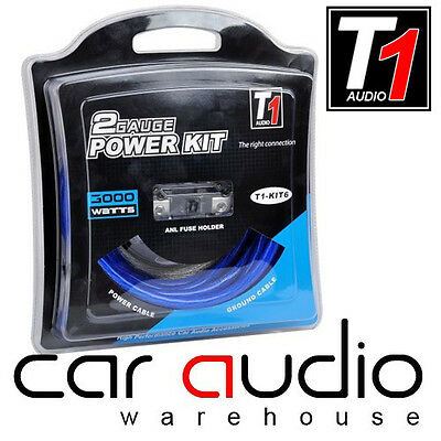 T1 Audio T1-KIT6 2 AWG 3000 watt Car Amp Power Kit With ANL Fuse Holder