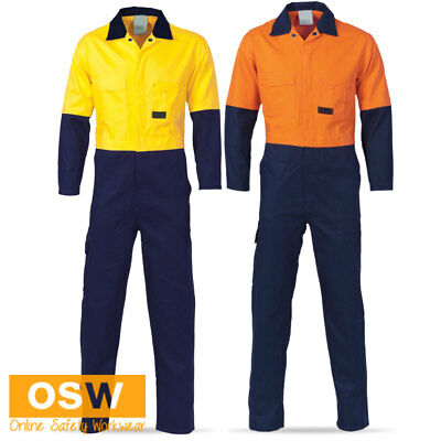 Hi Vis Cool Breeze Underarm Mesh Vents Work Yellow/Orange/Navy Cotton Coverall