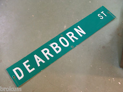 "Large Original Dearborn St Street Sign 54"" X 9"" White Lettering On Green"