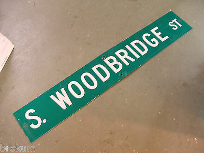 "Large Original S. Woodbridge St Street Sign 54"" X 9"" White Lettering On Green"