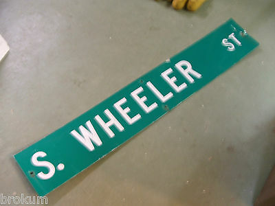 "Large Original S. Wheeler St Street Sign 54"" X 9"" White Lettering On Green"