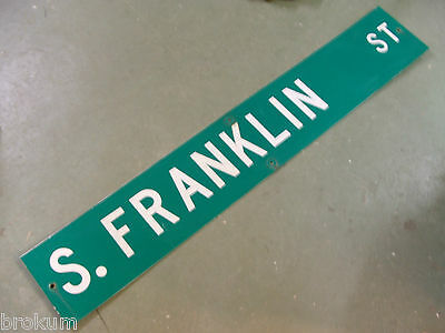 "Large Original S. Franklin St Street Sign 54"" X 9"" White Lettering On Green"