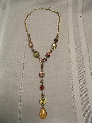Vintage-look Y Necklace Lucite Translucent Jewel Tone Beads Chain Adjustable