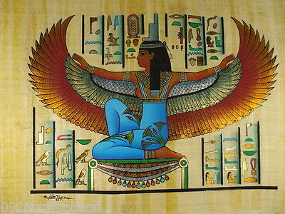 "Ancient Goddess Isis Alphabet Original Hand Painted Papyrus 12""X16"" (30x40 Cm)"