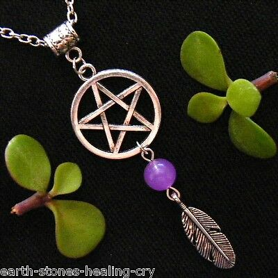 PENTAGRAM Talisman Wicca Protection Amulet Silver Feather Charm Necklace Pendant