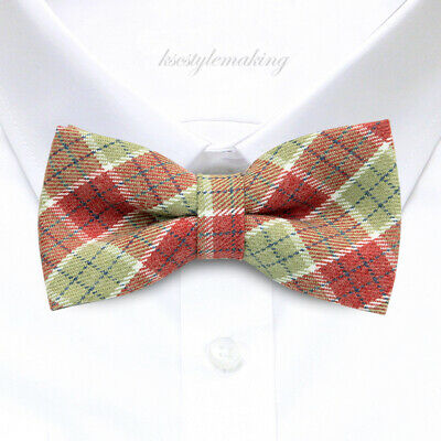 *BRAND NEW* MULTI-COLOR CHECKED WOOL QUALITY LUXURY TUXEDO BOYS BOW TIE B849
