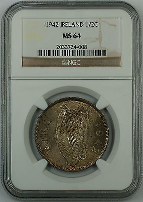 1942 Ireland 1/2C Half Crown Silver Coin, NGC MS-64, Toned