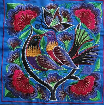 Kissing birds Chinese antique tribal miao hmong machinemade embroidery 23058