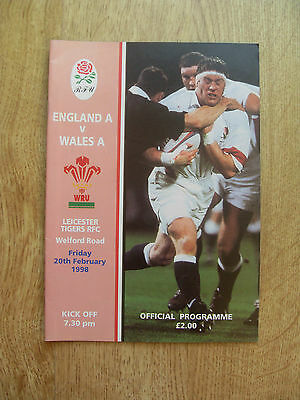 England A v Wales A 1998 Rugby Programme