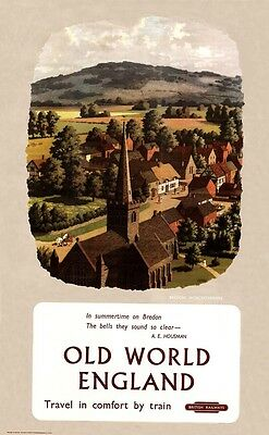 British Railways - Old World England, Bredon - vintage old repro poster