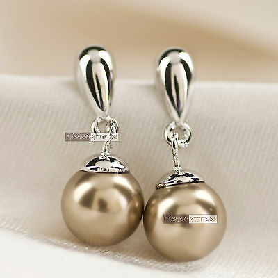 18K White Gold Gp Brown Pearl Ear Stud Simple Classic Womens Earrings