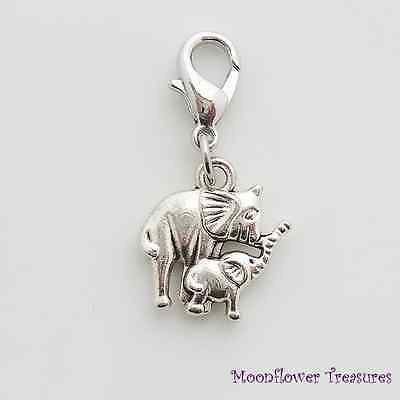 Silver Tone Elephant Mother & Baby Charm fit Clip On Charm Bracelet