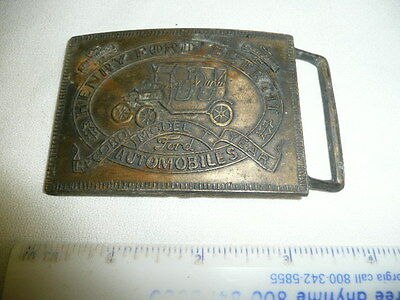 Henry Ford Detroit Record Year Model T Car Automobile Brass Belt Buckle--#DP