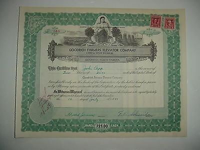 Goodrich Farmers Elevator Company Stock Certificate North Dakota
