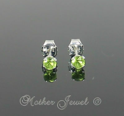 3mm Real Solid 925 STERLING SILVER Peridot Green CZ Girls Earrings Unisex Studs
