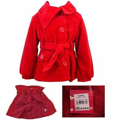 Girls Smart Casual Red Jacket Wool Look Jacket / Coat Ex-Store Ages 2Yrs-10Yrs