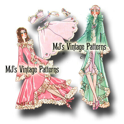French Boudoir Bed Doll 1930s Vintage Pattern #12 ~ Negligee, Panties, Lingerie