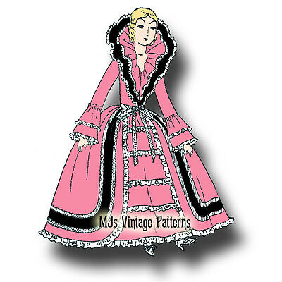 aadf77ccdbf French Boudoir Bed Doll 1920s Vintage Pattern  10 ~ Dress w  High Collar  Ruffles