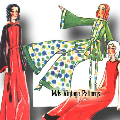 French Boudoir Bed Doll 1930s Vintage Pattern #4 ~ Flappers, Pajamas, Loungewear
