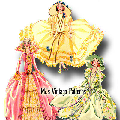 French Boudoir Bed Doll 1920s Vintage Pattern #2 ~ 3 Sumptuous Dresses Costumes
